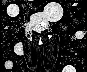 girl, black, and planet image