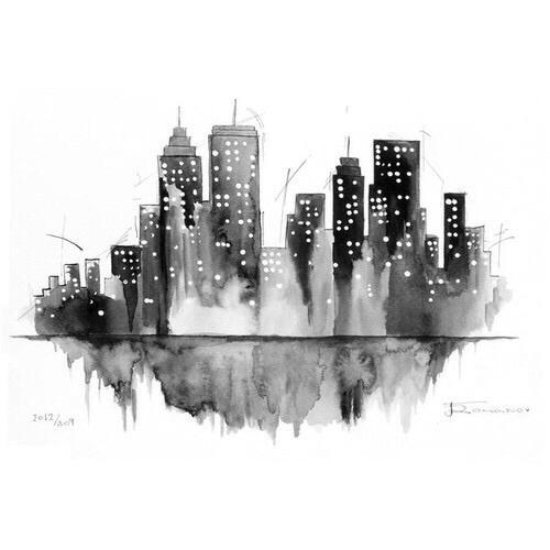 city, art, and black image
