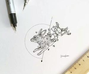 art, drawing, and rabbit image