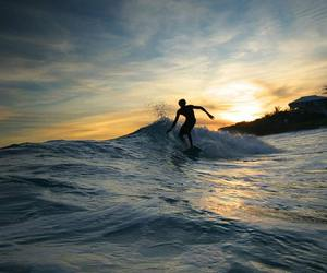 surf, sunset, and sea image