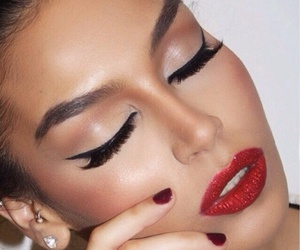 beauty, red lips, and make up image