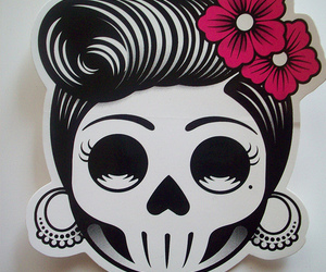 skull, rockabilly, and sticker image