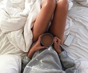 coffee, grey, and bed all day image