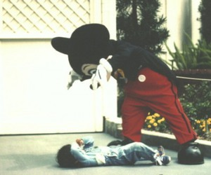 boy, old, and mickey mouse image