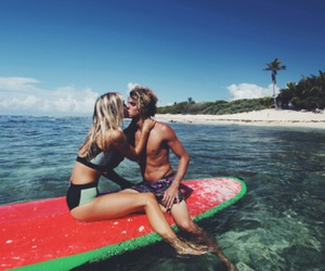 couple, summer, and beach image