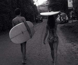 couple, summer, and surf image