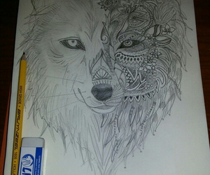 draw, drawing, and wolf image