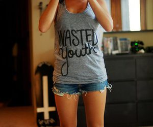 girl, shorts, and wasted image
