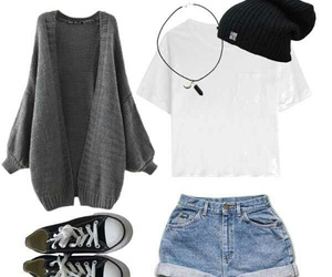 beanie, converse, and crystal image