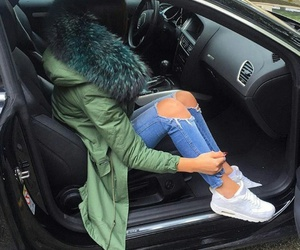 fall fashion, green jackets, and white sneakers image