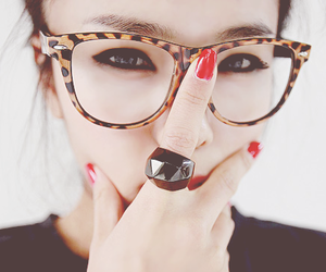 girl, glasses, and ring image