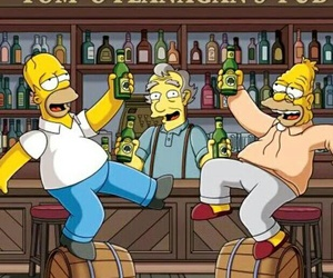 abe, beer, and simpsons image