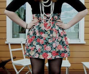 black, flowers, and pearls image