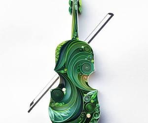 green, violin, and music image