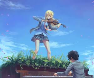 shigatsu wa kimi no uso, anime, and piano image