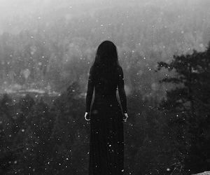 girl, snow, and black image