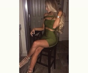 green dress, tight dress, and hair goals image