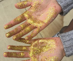 gold, glitter, and hands image