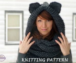cat ears, etsy, and knit pattern image