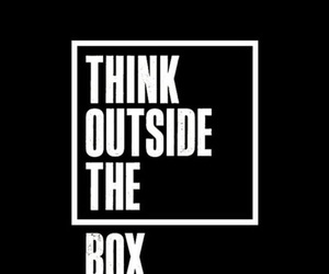 quotes, think, and box image