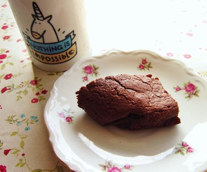 brownie, delicious, and floral image