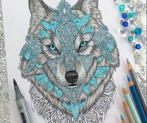wolf, art, and drawing image