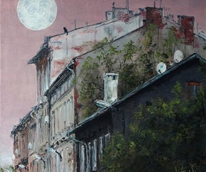 house, moon, and painting image