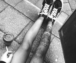 tattoo, smoke, and legs image