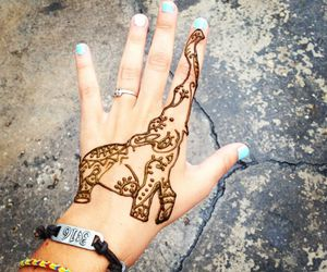 elephant, tattoo, and henna image