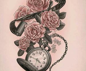 tattoo, rose, and clock image