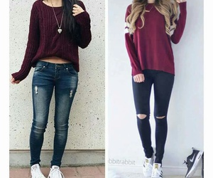 jeans, red, and cute image
