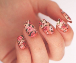 fingernail, flowers, and vernis image