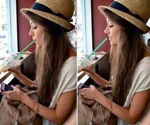 girl, starbucks, and hat image