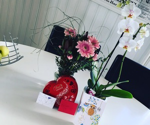 apple, cards, and flowers image