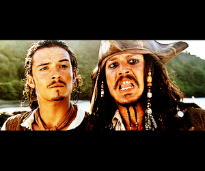 jack sparrow, orlando bloom, and will turner image