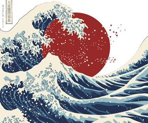 wave, japan, and art image