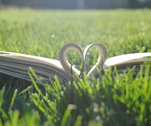 grass, heart, and book image
