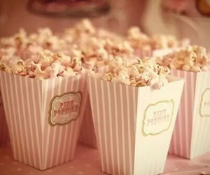 popcorn, pink, and food image