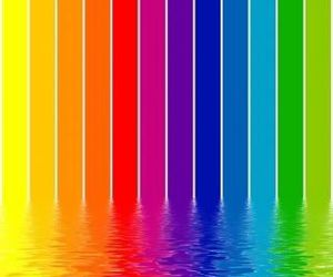 blue, yellow, and rainbow image