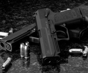 black and white and gun image