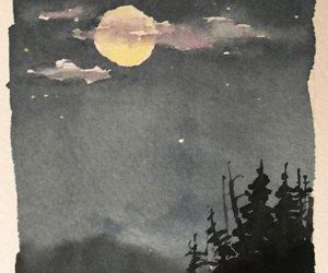 black and white, moon, and painting image