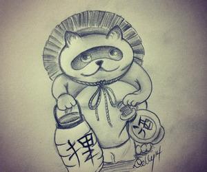 animal, tanuki, and draw image