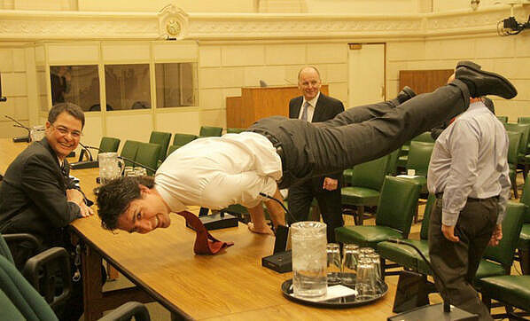 yoga, canadian inspiration, and trudeau doing yoga image