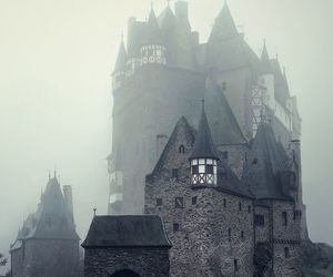 castle, fog, and dark image