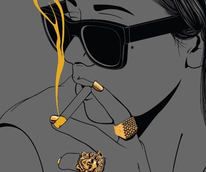 gold, smoke, and black image