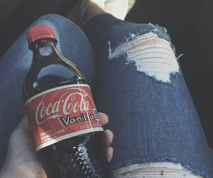 coke, ripped jeans, and summer image