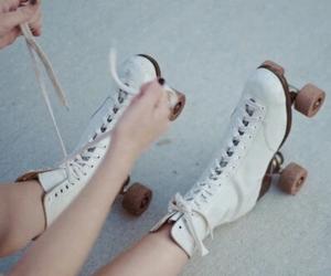 white, vintage, and roller skates image