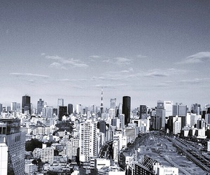 black and whote, city, and tokyo image