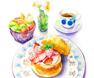 breakfast, cake, and coffee image