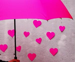 pink, umbrella, and heart image
